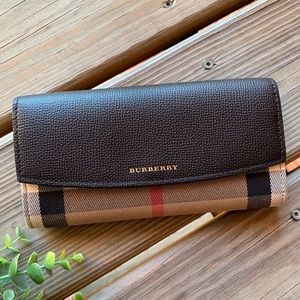 Burberry Bags - Burberry Horseferry Check Leather Flap Wallet
